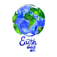 Watercolor blue green Earth