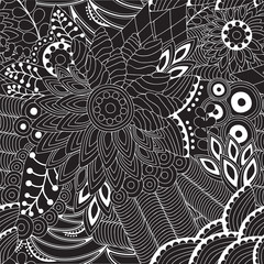 stock vector seamless doodle black and white floral pattern. ori
