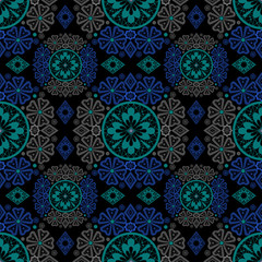 Dark abstract seamless lace pattern background