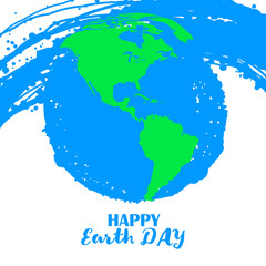 Happy Earth Day. Poster for Earth Day. Grungy earth globe. Sketch illustration of planet earth vector illustration