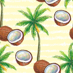 Seamless pattern with coconut and palm tree vector background. Perfect for wallpapers, pattern fills, web page backgrounds, surface textures, textile