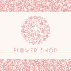 Flower shop logo and signs in trendy linear style.