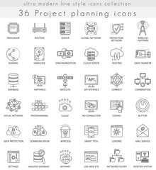 Vector Project planning strategy ultra modern outline line icons for web and apps.
