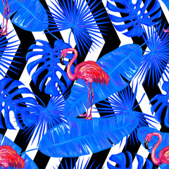 Seamless summer tropical pattern with flamingo, palm leaves vector background. Perfect for wallpapers, pattern fills, web page backgrounds, surface textures, textile