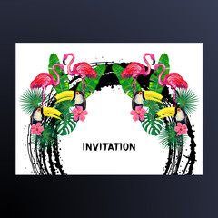 Invitation with pink flamingo, toucan bird, tropical exotic flowers and leaves. Tropical Floral Frame. Background with tropical birds. Tropical birds poster