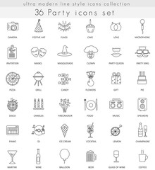 Vector Party ultra modern outline line icons for web and apps.