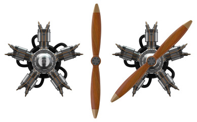 3d star engine wtih old wooden propeller Wall mural