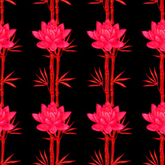 Seamless summer pattern with traditional oriental symbols bamboo and lotus flowers vector background. Perfect for wallpapers, pattern fills, web page backgrounds, surface textures, textile