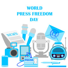 World press freedom day. Journalism and press. News cast journalism television radio press conference concept. Flat design vector illustration