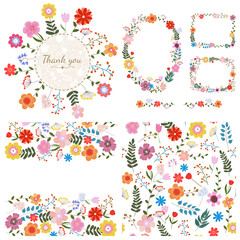 Set of floral backgrounds. Spring and summer flowers. Frames for your design and seamless pattern. Vector.