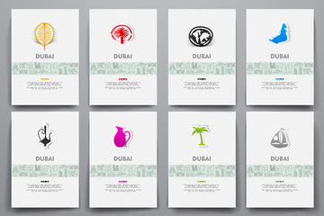 Corporate identity vector templates set with doodles Dubai theme