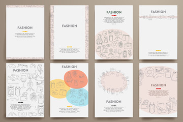 Corporate identity vector templates set with doodles fashion theme