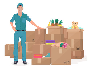 Delivery move service man near craft boxes. Cargo concept vector illustration.