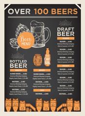 Beer restaurant cafe menu, template design.