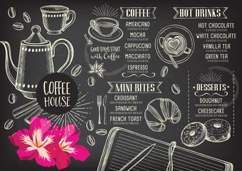 Coffee restaurant cafe menu, template design.