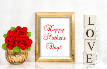 Golden frame red roses. Happy Mothers Day