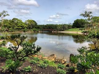 lake landscape at morikami japanese gardens
