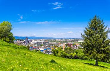 住宅街を望む新緑の丘