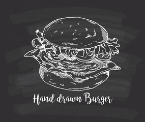 hand drawn burger on chalkboard background