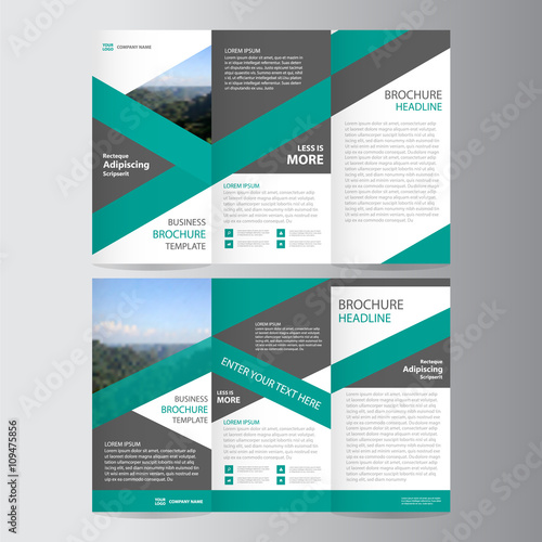 Green Trifold Leaflet Brochure Flyer Template Design Abstract