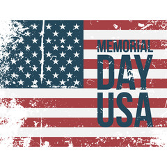 Memorial Day USA Type on colorful grunge Flag