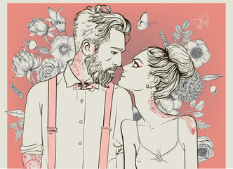 beautiful couple with floral elements