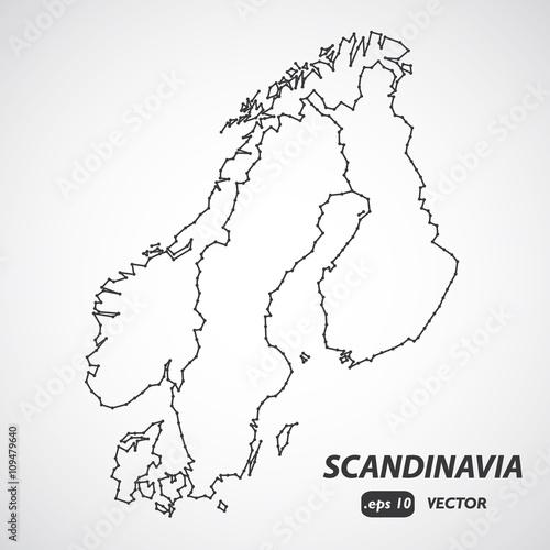 Scandinavia Borders Map Scandinavia Map Vector Denmark Norway - Norway map eps
