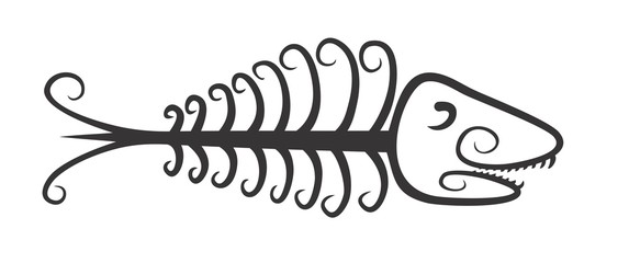 Logo of skeleton fish.