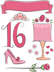 Number Design Pink Polka Dots Elements