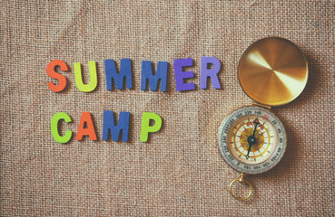 colorful wooden letters with phrase: SUMMER CAMP