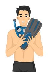 Man Snorkeling Gear