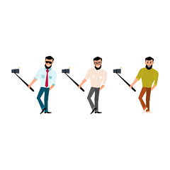 Set of smiling male with a beard hipster take photos
