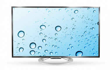 Television monitor windshield isolated on white background.