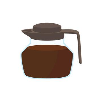 Glass coffee pot icon, cartoon style