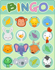 Animal Bingo Game Card