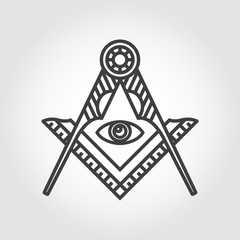 Vector grey masonic freemasonry emblem icon