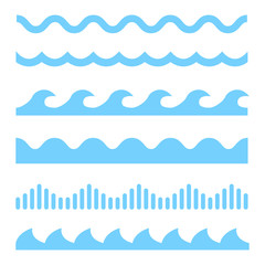 In de dag Abstract wave Vector blue wave icons set