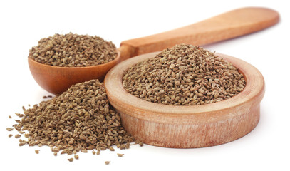 Ajwain seeds in a wooden bowl