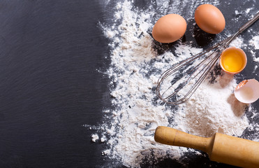 ingredients for cooking: flour and eggs
