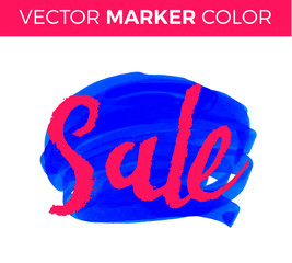 Vector handwritten calligraphy inscription on blue grunge watercolor stain background - Sale. Isolated on white background. Sale lettering marker.