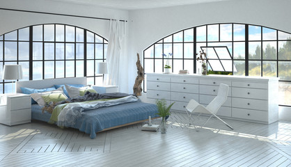 Room with queen-size bed as 3D render