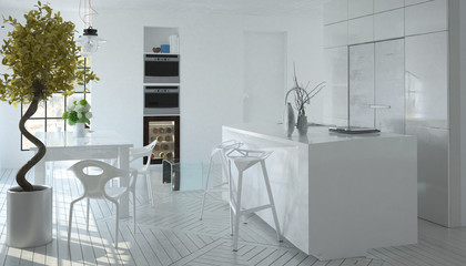 Compact modern white kitchen interior