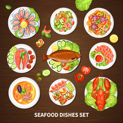 Poster With Seafood Dishes Set