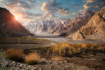 Tuinposter Heuvel Beautiful landscape of Pasu, Pakostan during sunset.