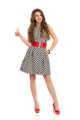Fashionable Girl Showing Thumb Up