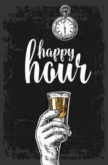 Male hand holding a tequila glass. Vintage vector engraving illustration for label, poster, menu. Isolated on dark background. Happy hour
