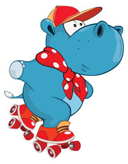 Illustration of a Cute Hippo. Cartoon Character