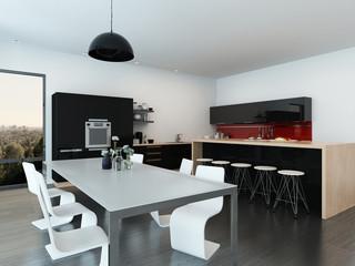 Modern open-plan apartment interior