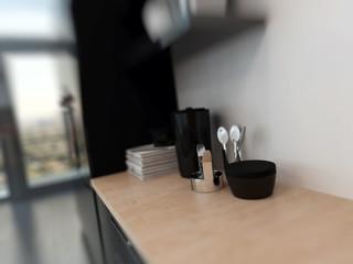 Kitchen utensils on a kitchen counter