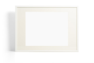 White picture frame on light background